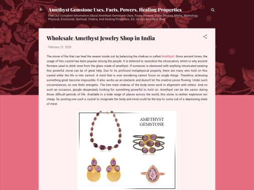 Wholesale Amethyst jewelry shop in India