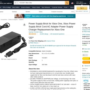 Amazon.com: Xbox One Power Supply Brick, [Advanced QUIET VERSION] AC Adapter Power Supply Charger Cord Replacement for Xbox One 100-240V, Black: Computers & Accessories