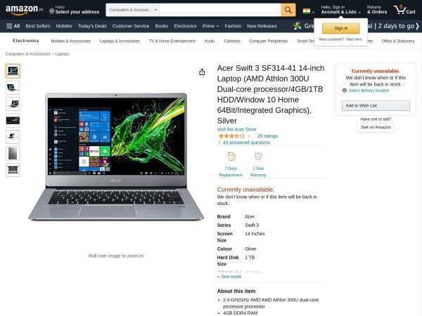 Acer Swift 3  - 10 Best Laptop under 40000 Rs in India 2020