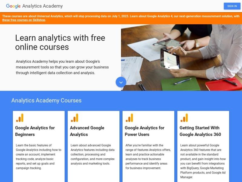 Google Analytics Academy | GoogleAnalyticsを無料で学習できるオンライン学習サイト