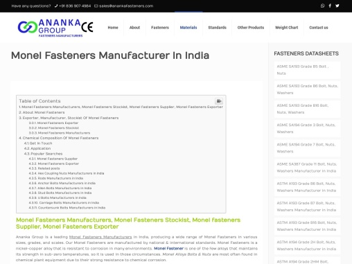 Monel Fasteners Manufacturer In India