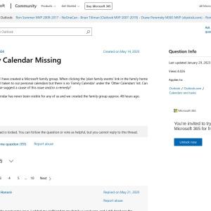 Family Calendar Missing - Microsoft Community