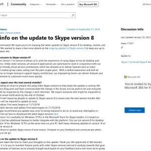 More info on the update to Skype version 8 - Microsoft Community