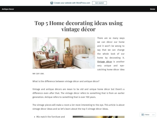 Top 5 Home decorating ideas using vintage decor