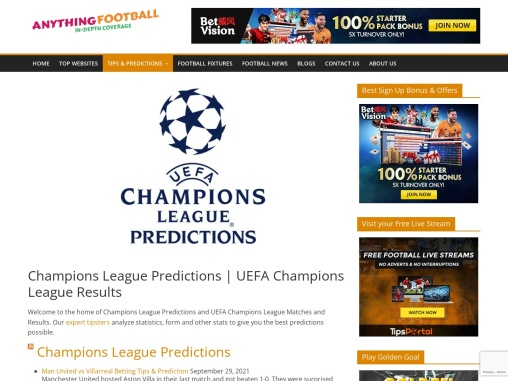 Champions League Predictions and UEFA Champions League Results