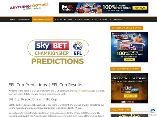 EFL Cup Predictions and EFL Cup Results