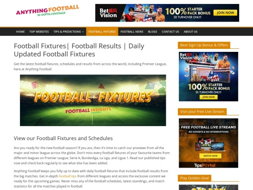 Football Fixtures and Football Results