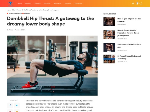 Dumbbell Hip Thrust: A gateway to the dreamy lower body shape