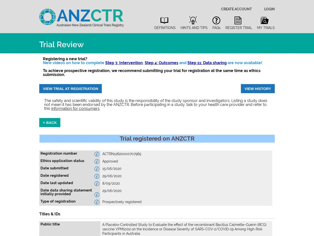 ANZCTR - Registration