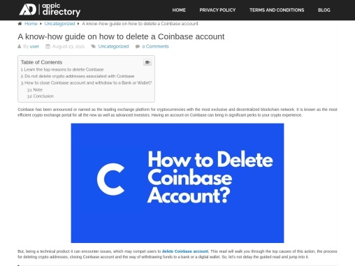 Delete Coinbase Account (Appic Directory)