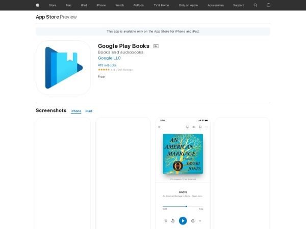 Google Play Books - Best Audiobook App for iPhone 2020