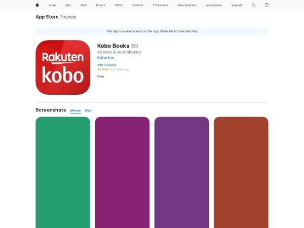 Kobo Books  - Best Audiobook App for iPhone 2020