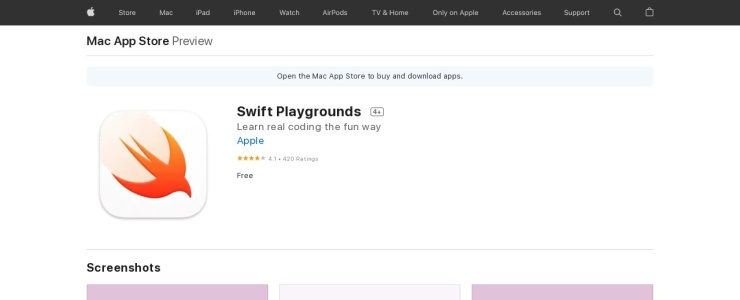 screenshot of Swift Playgrounds