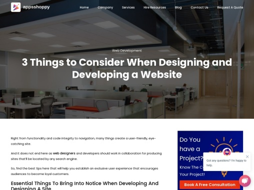 Title – 3 Things to Consider When Designing and Developing a Website