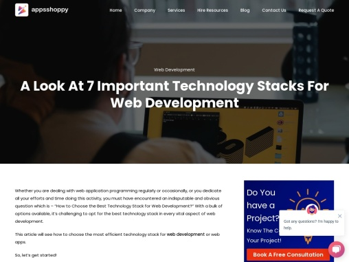 Title – A Look At 7 Important Technology Stacks For Web Development
