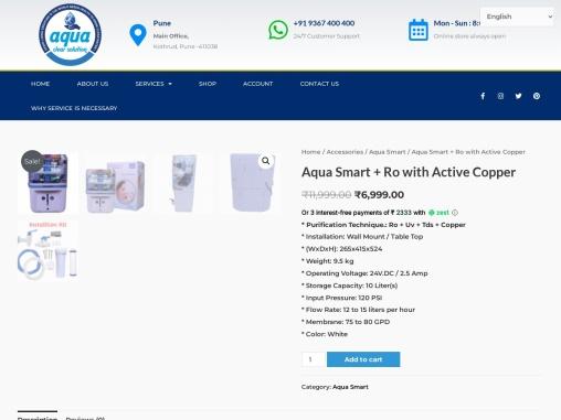 New Aqua Grand + Active Copper RO 10L water purifier