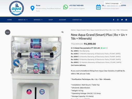Buy New Aqua Grand (Smart) Plus from Best Water Purifier in Pune