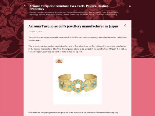 Arizona Turquoise cuffs jewellery manufacturer in Jaipur