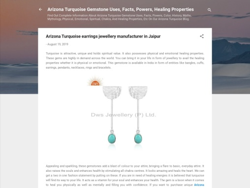 Arizona Turquoise earrings jewellery manufacturer in Jaipur