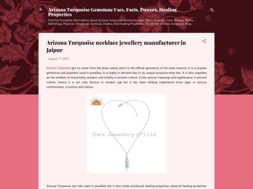 Arizona Turquoise necklace jewellery manufacturer in Jaipur