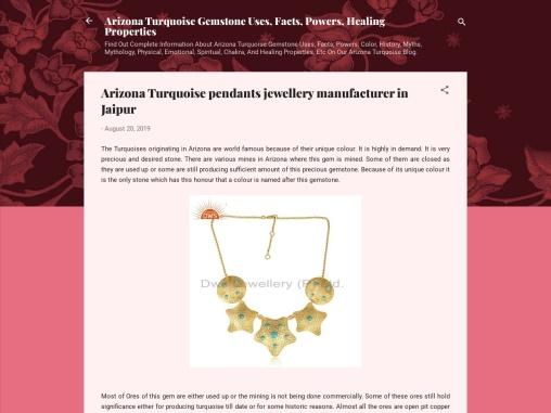Arizona Turquoise pendants jewellery manufacturer in Jaipur