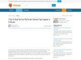 Cheap Womens Tops – Tips To Find Women Tops Suppliers In Uk!