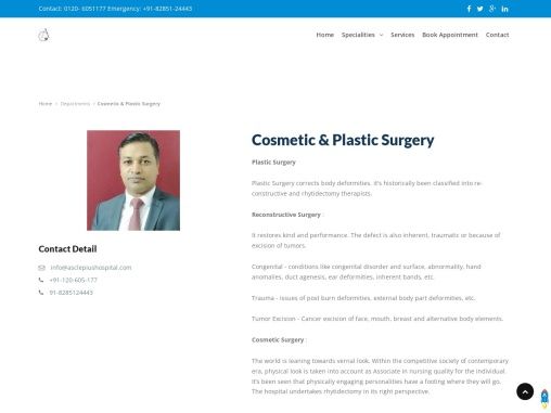 Plastic Surgeon and Cosmetic Surgery in Greater Noida , Noida Extension