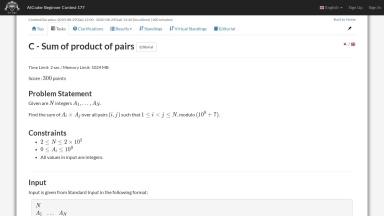 C - Sum of product of pairs