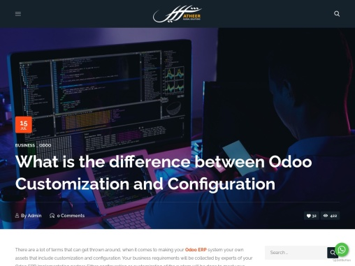 What is the difference between Odoo Customization and Configuration