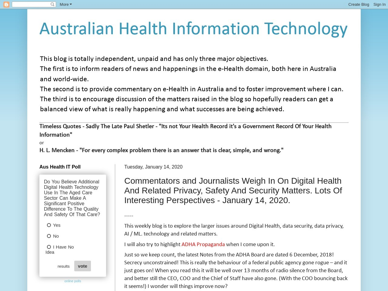 Commentators and Journalists Weigh In On Digital Health And Related Privacy, Safety And Security…
