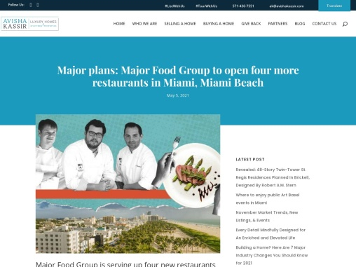 Major Food Group to open four more restaurants in Miami