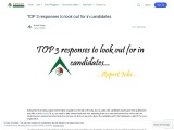 TOP 3 responses to look out for in candidates