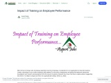 Impact of Training on Employee Performance