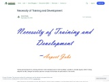 Necessity of Training and Development