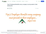 Top 5 Employee Benefits every company must provide to their employees
