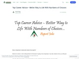 Top Career Advice – Better Way to Life With Numbers of Choices