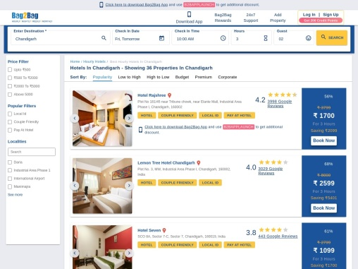Best Hourly Hotels in Chandigarh | Hourly Hotel Booking in Chandigarh | Bag2Bag
