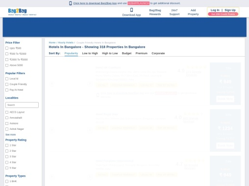 Book Couple Friendly Hotels in Bangalore | Bag2Bag Rooms