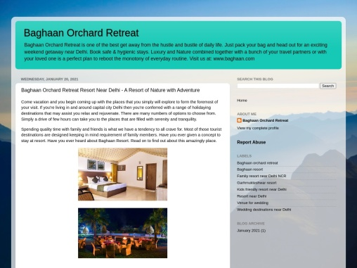 Baghaan Orchard Retreat Resort Near Delhi – A Resort of Nature with Adventure