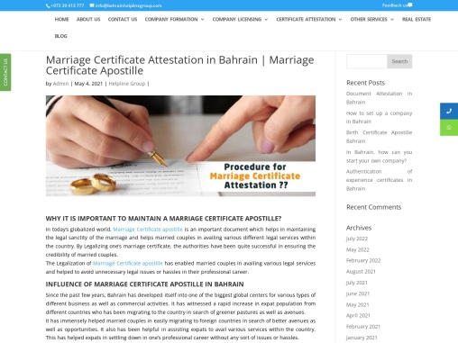 Marriage Certificate Attestation in Bahrain