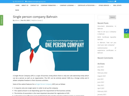 Single person company formation Bahrain