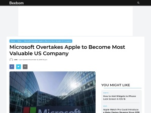 Microsoft Overtakes Apple to Become Most Valuable US Company | Beebom