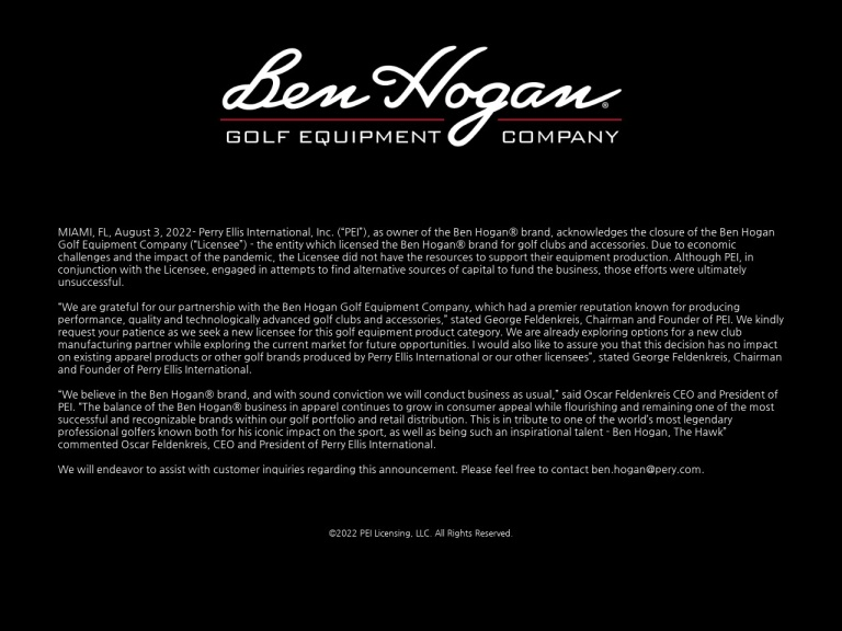 Ben Hogan Golf Equipment screenshot