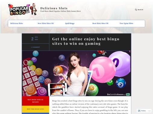 Get the online enjoy best bingo sites to win on gaming