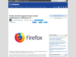Firefox 64 will support Action Center notifications in Windows 10