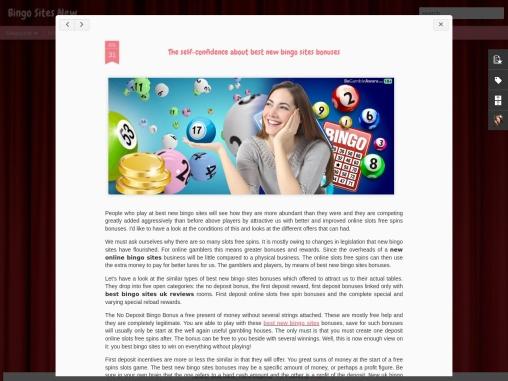 The self-confidence about best new bingo sites bonuses
