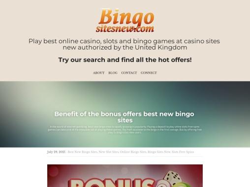 Benefit of the bonus offers best new bingo sites