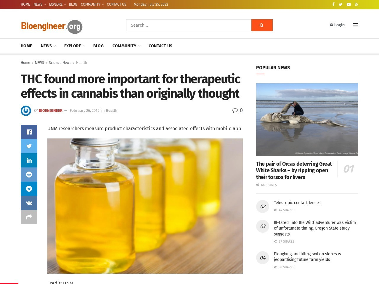 THC found more important for therapeutic effects in cannabis than…