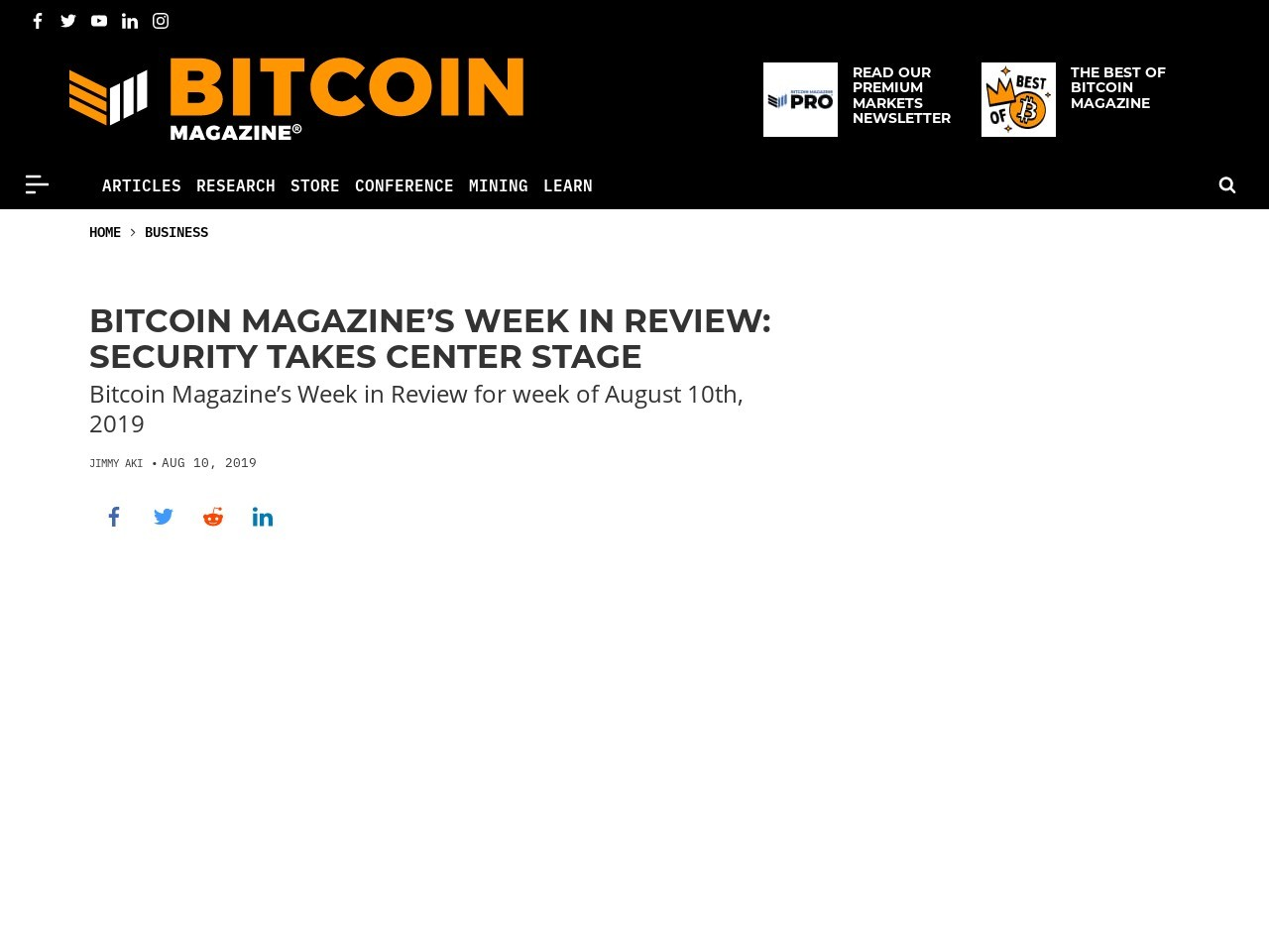 Bitcoin Magazine's Week in Review: Security Takes Center Stage