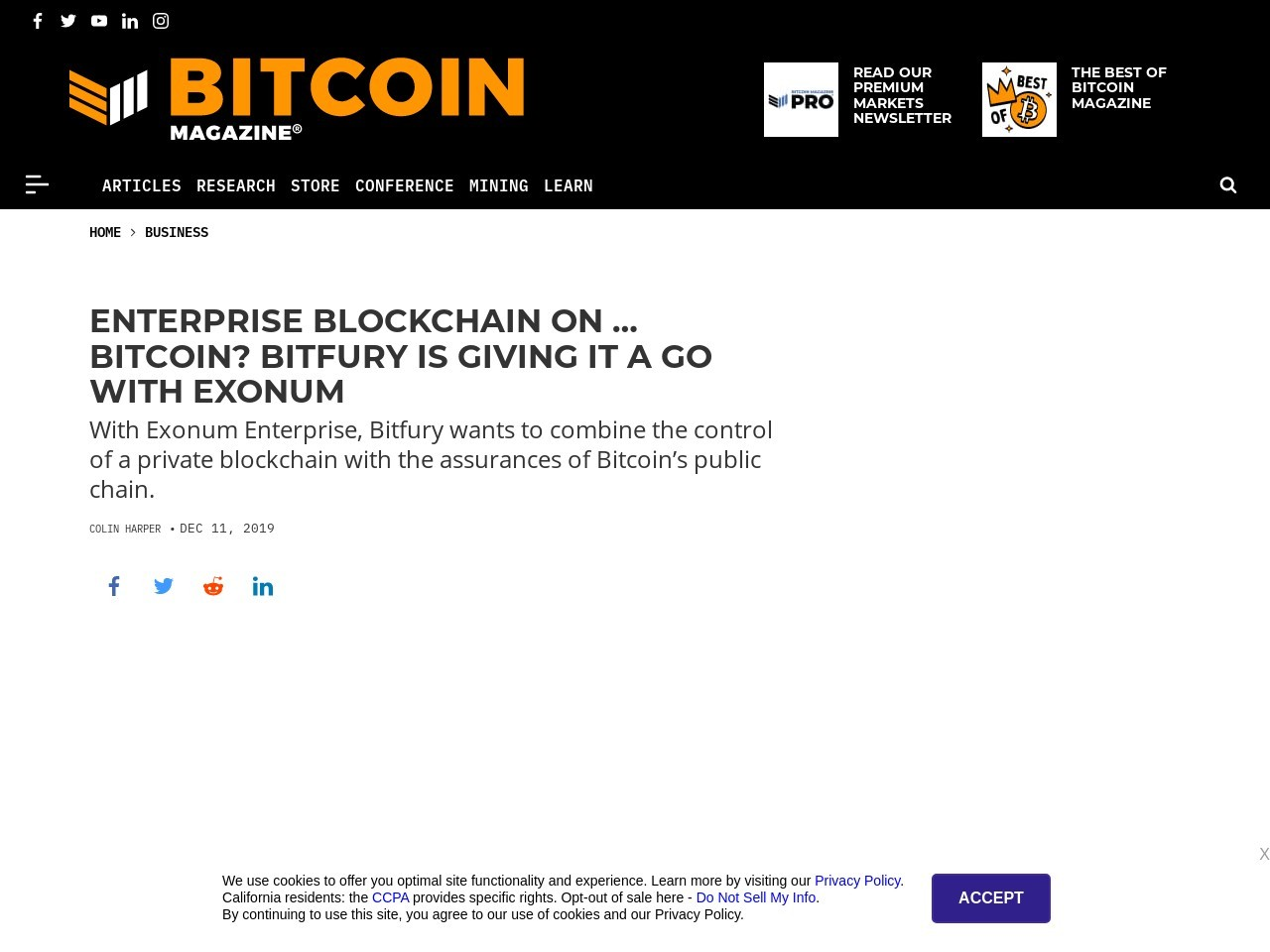 Enterprise Blockchain on … Bitcoin? Bitfury Is Giving It a Go With Exonum